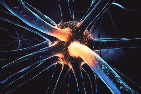 Close up of abstract neuron. Medicine concept. 3D Rendering Stock Photo - 78063060