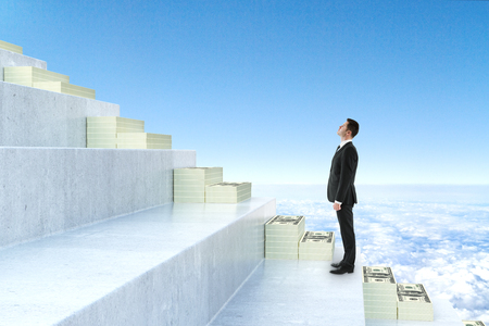 Side view of young businessman climbing abstract money staircase on blue sky background. Finance concept. 3D Rendering