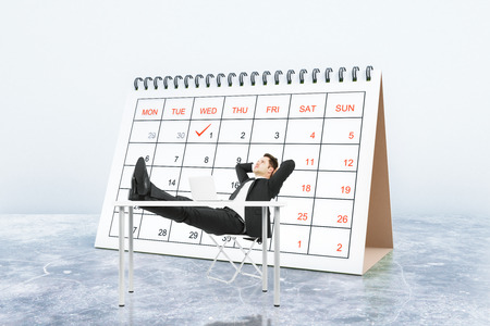 Relaxing businessman with calendar in the background. Schedule concept. 3D Rendering
