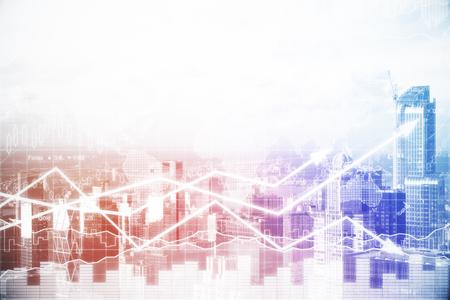 外国為替チャートと都市背景を抽象化します。統計量の概念。トーンのイメージ