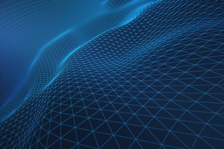 Abstract blue grid waves. Tech concept. 3D Rendering