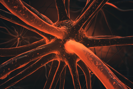 Close up of orange neuron. Medicine concept. 3D Rendering