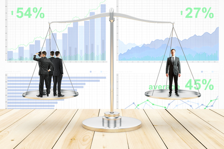 Group of businesspeople and businessman standing on scale plates. Business charts in the background. Balancing concept. 3D Rendering Stock Photo