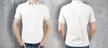 Man wearing empty white shirt on concrete background. Front and rear view. Shopping concept. Mock up