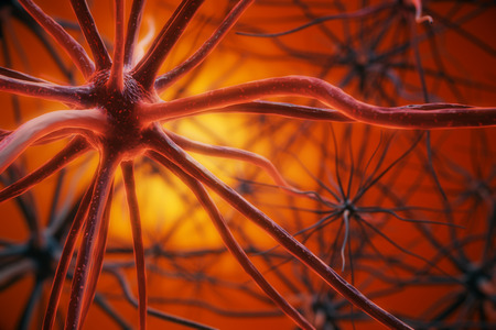 Abstract red neuron background. Science concept. 3D Rendering Stock Photo
