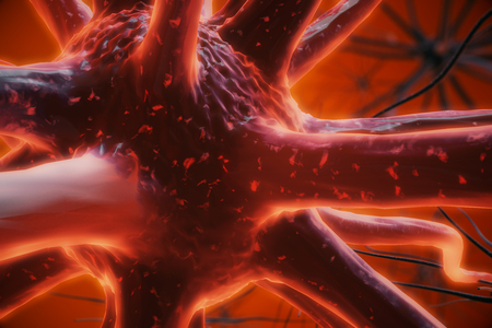 Close up of red neuron. Medicine concept. 3D Rendering