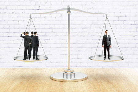 Group of businesspeople and businessman standing on scale plates. Wooden surface. Brick wall background. Balancing concept. 3D Rendering