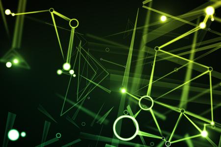 抽象的な緑パターン背景。技術コンセプト。3 D レンダリング
