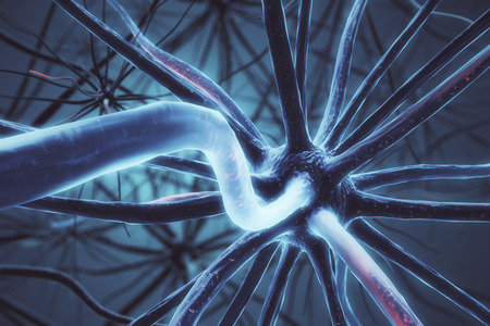 Abstract grey neuron background. Science concept. 3D Rendering