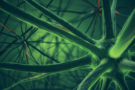 infectious disease: Abstract green neuron backdrop. Science concept. 3D Rendering