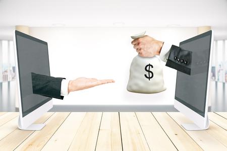 コンピューターの画面を通ってお金を受け取るを渡す手の抽象的なイメージ。オンライン転送概念。3 D レンダリング 写真素材