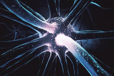 Close up of bright neuron. Medicine concept. 3D Rendering