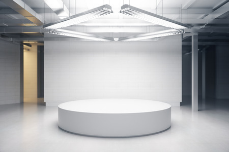 Light room with podium. Exhibition concept. Mock up, 3D Rendering