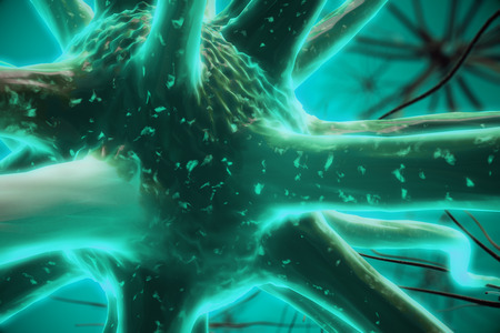 Close up of turquoise neuron. Medicine concept. 3D Rendering