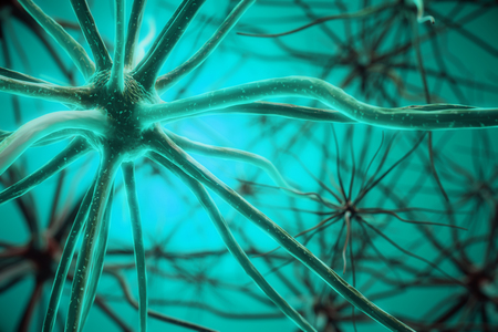 Abstract turquoise neuron background. Science concept. 3D Rendering