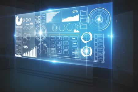 Digitaal bedrijfsscherm in donker binnenland. Fintech-concept. 3D-weergave