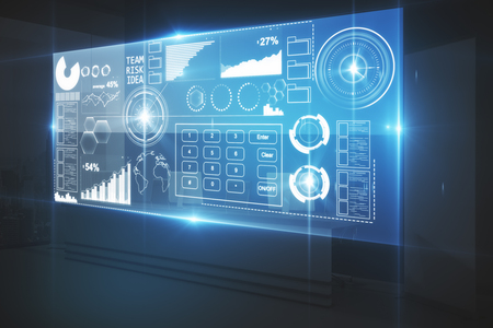 Digital business screen in dark interior. Fintech concept. 3D Rendering