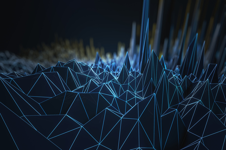 Abstract dark blue polygonal background. 3D Rendering