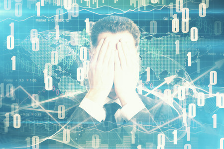 Businessman covering face on abstract digital backdrop Stock Photo