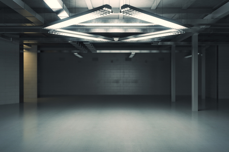 condo: Unfurnished dark grungy interior. 3D Rendering Stock Photo