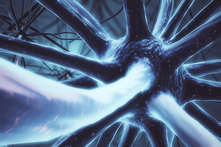 Close up of blue neuron. Medicine concept. 3D Rendering