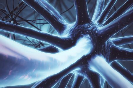 Close-up van blauwe neuron. Geneeskunde concept. 3D-rendering Stockfoto