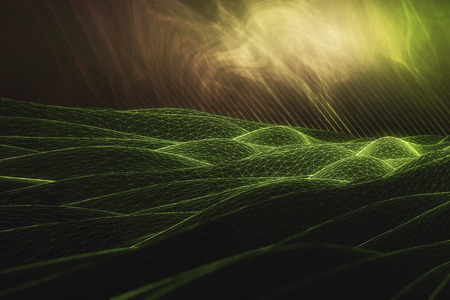 Abstract green polygonal waves on bright background. 3D Rendering