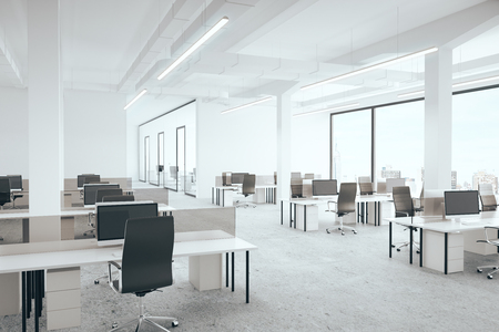 Office room with city view. 3D Rendering Stok Fotoğraf