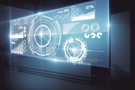 Digitaal bedrijfsscherm in donker binnenland. Financiën concept. 3D-weergave
