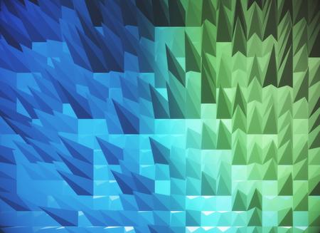 Blue spiky polygonal background. 3D Rendering