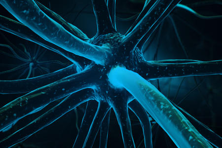 Close up of turquoise neuron. Medicine concept. 3D Rendering Stock Photo - 79079429