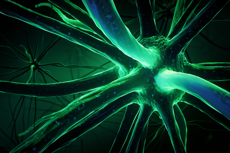 Close up of green neuron. Medicine concept. 3D Rendering Stock Photo