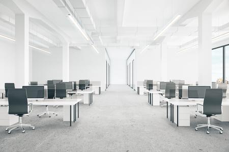 シティー ビューとオフィス インテリア。3 D レンダリング 写真素材