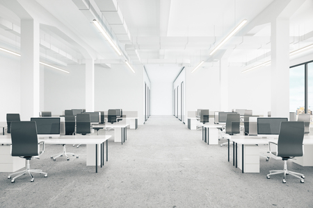 Office interior with city view. 3D Rendering