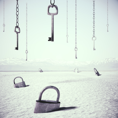 Abstract white desert with keys locks and keys. Accessibility concept. 3D Rendering