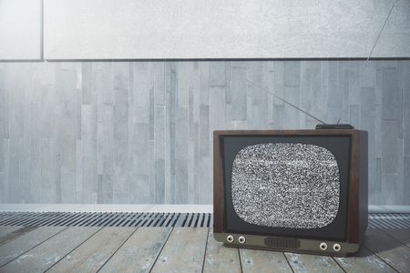 Close up of old TV screen places on wooden floor. Technology concept. 3D Rendering