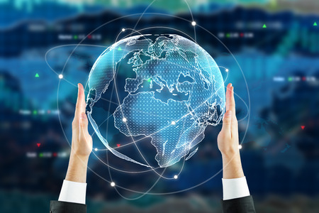 Businessman holding digital globe on forex background. Stock concept. 3D Rendering