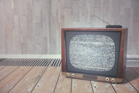 Close up of vintage TV screen places on wooden floor. Technology concept. 3D Rendering
