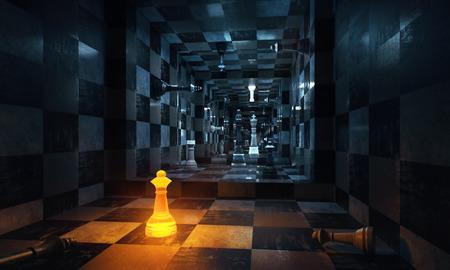 Abstract schaakbinnenland met verlicht cijfer. 3D-weergave Stockfoto