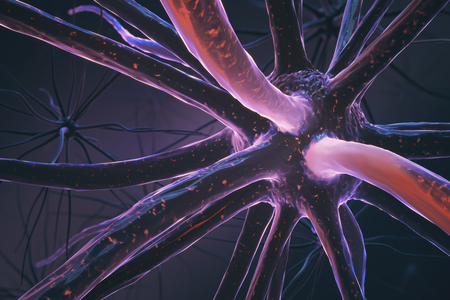 Close up of pink neuron. Medicine concept. 3D Rendering Stock Photo