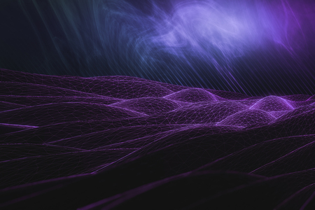 Abstract purple polygonal waves on bright background. 3D Rendering