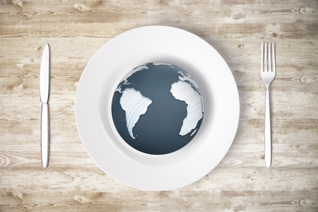 Top view of cutlery and plate with globe on wooden table. World concept. Elements of this image furnished by NASA. 3D Rendering