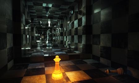 Abstracte schaakruimte met verlicht cijfer. Leiderschap concept. 3D-weergave