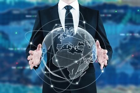 外国為替の背景にデジタル世界を保持している実業家。グローバル ビジネス コンセプトです。3 D レンダリング