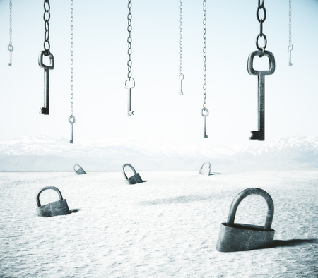 Abstract white desert with keys locks and keys. Safety concept. 3D Rendering Stok Fotoğraf