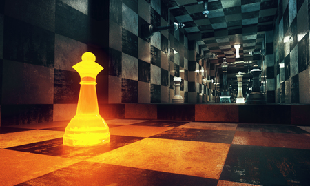 Abstract chessboad interior with illuminated figure. Leadership concept. 3D Rendering Banco de Imagens - 79156032