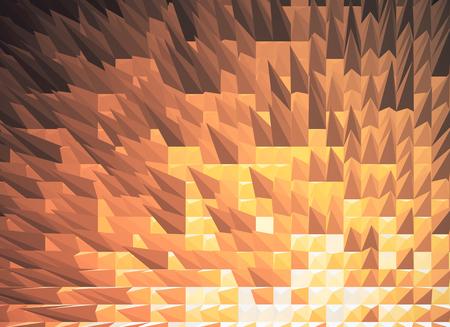 Copper spiky polygonal background. 3D Rendering
