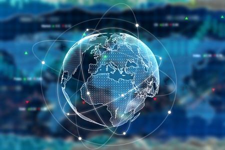 Digitale wereld op forex achtergrond. Internationaal bedrijfsconcept. 3D-weergave