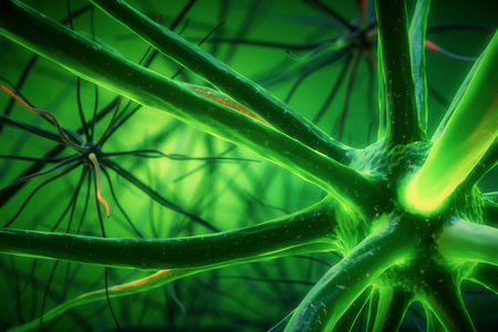 Abstract green neuron background. Science concept. 3D Rendering Stock Photo