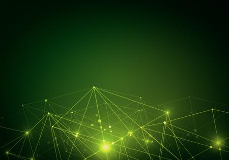 スポーツを輝く創造的な緑色の背景は、ラインに接続します。技術コンセプト。3 D レンダリング